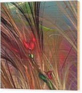 Flowers In The Grass Wood Print