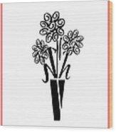 Flowers In Type Wood Print
