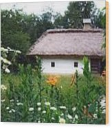 Flowers Near Rural House Wood Print by Aleksandr Volkov