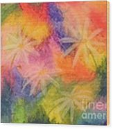 Flowers On Color Wood Print