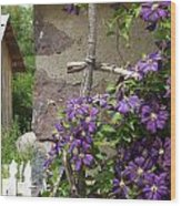 Flowers On The Garden Wall Wood Print