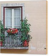 Flowery Balcony Wood Print by Carlos Caetano