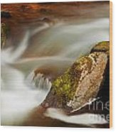 Flowing River Blurred Through Rocks Wood Print