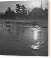 Flowing Water At Sunrise Wood Print
