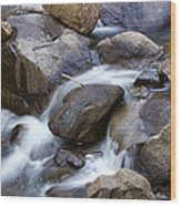 Flowing Water Down The Colorado St Vrain River Wood Print