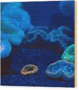 Fluorescent Corals Wood Print