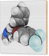 Fluoxetine Antidepressant Drug Molecule Wood Print