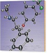 Fluoxetine Drug Molecule Wood Print by Miriam Maslo