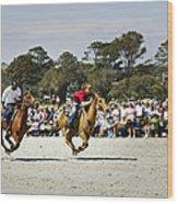 Flying At The Marsh Tacky Races Wood Print