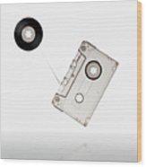 Flying Audio Cassette Wood Print