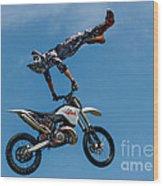 Flying High Motorcyle Tricks Wood Print
