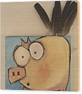 Flying Pig First Flight Wood Print