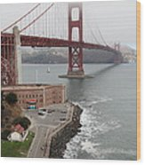 Fog At The San Francisco Golden Gate Bridge - 5d18872 Wood Print by Wingsdomain Art and Photography