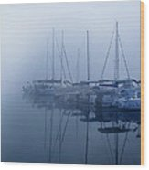Fog Hides Sun From Sailboats Wood Print