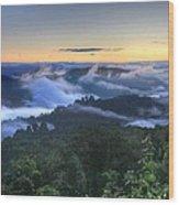 Fog Lifting At Sunrise Wood Print