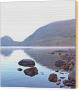 Fog Lifting Over Jordan Pond Wood Print by Thomas Northcut