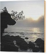 Fog On The Rocks Sunrise Wood Print