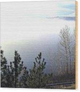 Fog On Wood Lake Wood Print