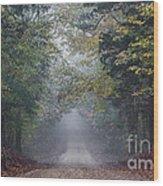 Fog Road Wood Print
