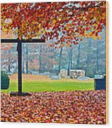 Foggy Autumn Cemetery Wood Print