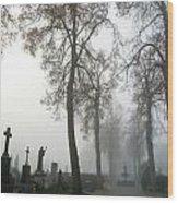 Foggy Cemetery Wood Print