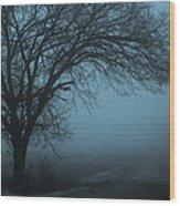 Foggy Country Road Wood Print
