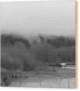 Foggy Down The Mountain Wood Print