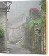 Foggy Lane In St Cirq Wood Print