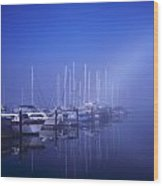 Foggy Morning At A Marina Wood Print