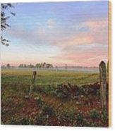 Foggy Morning Field Wood Print