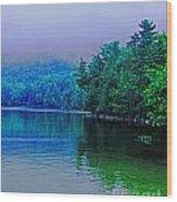 Foggy Mountain Pond Wood Print