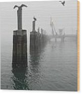 Foggy Pier Wood Print