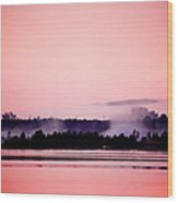Foggy Pink Morning Wood Print