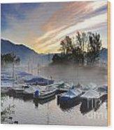 Foggy Port In Sunrise Wood Print