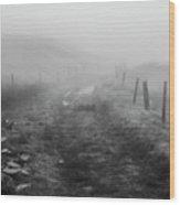 Foggy Welsh Slate Hills Wood Print