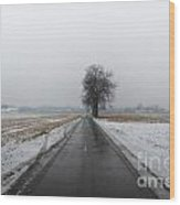 Foggy Winter Road Wood Print