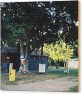 Folk Art Yard And Tree Wood Print