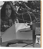 Folk Singer Joan Baez Singing Wood Print by Everett