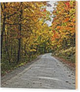 Follow The Yellow Leafed Road Wood Print