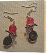 Follow Your Heart Pink Earrings Wood Print by Jenna Green