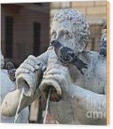 Fontana Del Moro In Piazza Navona. Rome Wood Print by Bernard Jaubert