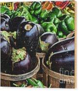 Food - Farm Fresh - Eggplant And Peppers Wood Print