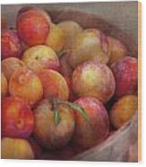 Food - Peaches - Farm Fresh Peaches  Wood Print by Mike Savad