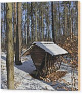 Food Point For Animals In Winterly Forest Wood Print by Matthias Hauser