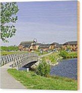 Foot-bridge And Lake - Barton Marina Wood Print