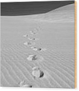 Foot Prints In White Sands 1 Wood Print