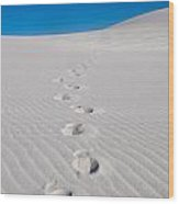 Foot Prints In White Sands 2 Wood Print