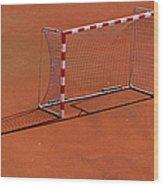 Football Net On Red Ground Wood Print