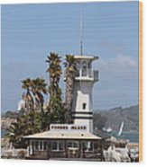 Forbes Island Restaurant With Alcatraz Island In The Background . San Francisco California . 7d14257 Wood Print
