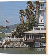 Forbes Island Restaurant With Alcatraz Island In The Background . San Francisco California . 7d14261 Wood Print by Wingsdomain Art and Photography
